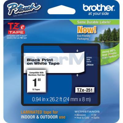 BROTHER TZ LAMINATED TAPE BLACK ON WHITE 0.94 IN X 26.2 FT